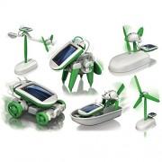 Rose International 6 in 1 Educational Solar Power Energy Robot Toy Kit, White/Green
