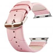 Kakapi voor Apple Watch 38mm krokodil textuur geborsteld gesp lederen horlogeband met Connector(Pink)