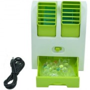Astyler Mini small USB Fragrance Air Conditioner Cooling Fan Portable Desktop Dual Bladeless Air Cooler (COLOR MAY VARY)