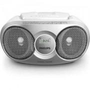Philips CD радиокасетофон, FM/MW стерео тунер, 2 x 1 W RMS, сребрист, захранване от мрежата или батерии размер C (LR14) x 6/AZ215S