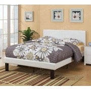 Bernadette collection white faux leather headboard twin bed