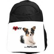 Rikki Knight UKBK I Love My Papillon Dog Tech BackPack - Padded for Laptops & Tablets Ideal for School or College Bag BackPack