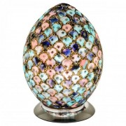 Mosaic Blue and Pink Glass Egg Table Lamp