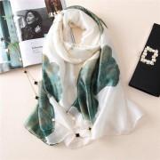 Luxe Chinese Silk - Elegant Zijden Lange Sjaal-Alle Seizoenen 190*85cm Inktstijl-Wit Groen Lotus Blad_WINTER VOOR SALE!