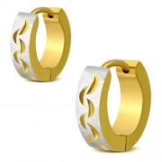 Arany és ezüst színű mintás nemesacél fülbevaló ékszer