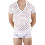 L'Homme Invisible Nightcall V Neck Short Sleeved T Shirt White MY61D-CAL-002