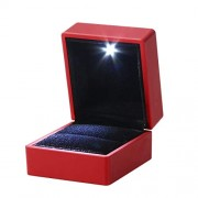 LED Lighted Jewelry Gift Box Lighting Ring Box Holder Case with Light for Jewelry Display (Red)
