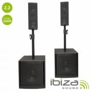 Ibiza Conjunto Som Bi-Amplificado USB/SD/BT Colunas Bi-amplificadas