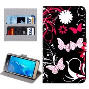 Samsung Galaxy J1 (2016) Case, J120 Case, Butterflies Love Flowers Pattern Horizontal Flip Leather Case with Holder & Card Slots & Wallet