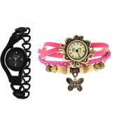 BLACK CHAIN and LITE PINK BUTTERFLY DORI SIGNATURE DESIGN COMBO WATCH