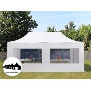 3x6m összecsukható pavilon panoráma ablakos Fehér Professional ()