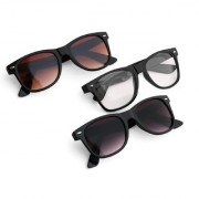 TheWhoop UV Protected Wayfarer Black And Transparent Men's and Women's Sunglasses Combo