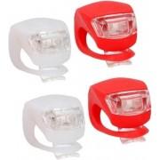 2x LED fietsverlichting set voor en achter - rood/wit - siliconen fietslampjes inclusief batterijen - voorlicht en achterlicht