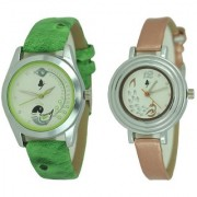 New Green And Brown Analog Watch For Women Girls Latest Designing Stylist Analog Watch Combo Pack Of 2 Watch