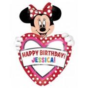 Balão alumínio para personalizar Happy Birthday Minnie™ 83 cm