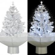 vidaXL Коледна елха с валящ сняг и основа от чадър, бяла, 75 см