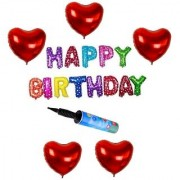 De-Ultimate Set Of Balloon Air Pump HAPPY BIRTHDAY Letters Foil Balloons 5 Pcs Love Heart Balloons For Birthday party