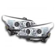 FK-Automotive fari Angel Eyes LED xeno BMW serie 5 E60/E61 anno di costr. 05-08 cromato RHD - volante a destra