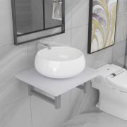 vidaXL Комплект мебели за баня от две части, керамика, бял