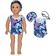 American girl Doll clothes - Blue Swimsuit/Bathing suit fit for 18 inches American girl dolls - Bikini,Goggles & Cap by Honey Doll