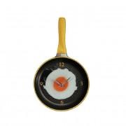 Wandklok Koekenpan met Spiegelei - geel