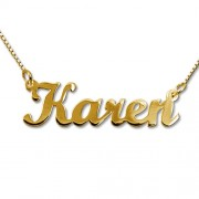 Personalized Men's Jewelry 18K Gold Plated Silver Script Style Name Necklace 101-01-076-08