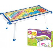 Kirat Solid Metal Base Learning Top Table for Kids With Ludo& Snakes and Ladder Printed Top By Krasa
