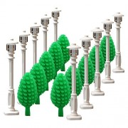 White Street lamp Tree for LEGO garden house parts building block toy street light children gifts