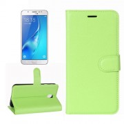For Samsung Galaxy J7 (2017) / J7 Pro Litchi Texture Horizontal Flip Leather Case with Holder & Card Slots & Wallet (Green)