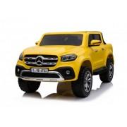 Mercedes 4x4 Dvosed licencirani model 310/1 sa kožnim sedištima i mekim gumama - Metalik žuti