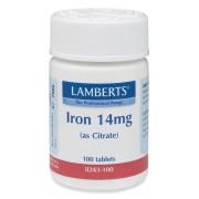 Järn 14mg (som järncitrat) (100 tabletter) - Lamberts