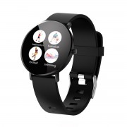 F25 Color Large Round Touch Screen Fitness Monitoring Waterproof Smart Bracelet [Leather Strap] - All Black