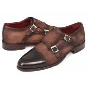 Paul Parkman Cap Toe Leather Upper Leather Sole Double Monk Strap Dress Shoes Brown & Beige Suede FK09