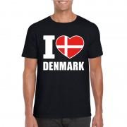 Bellatio Decorations I love Denemarken supporter shirt zwart heren 2XL - Feestshirts