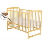 BabyNeeds Patut din lemn Ola 120x60 cm Natur Saltea 8 cm