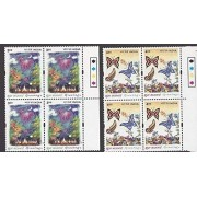 India 2001 Greetings Flowers Butterflies Fireworks Nature Butterfly TL Blocks