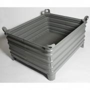 Heson Schwerlast-Stapelbehälter BxL 1000 x 1200 mm, mit Ecktaschen grau lackiert, ab 10 Stk
