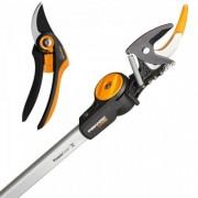 Универсална резачка за високи клони UPX82 + Лозарска ножица SmartFit P68 с разминаващи се остриета Fiskars