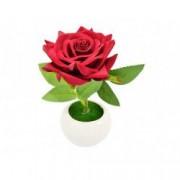 Trandafir artificial 19 cm suport ceramic rosu