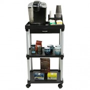 Mind Reader 3 Tier Rolling Cart with Free Condiment Organizer, Black