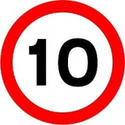 Unbranded Road Sign 10 Mph Aluminium Composite 45 x 45 cm