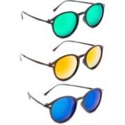 TheWhoop Round Sunglasses(Green, Orange, Blue)