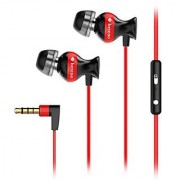 Wackolee GX-33 In-ear Headphones High Resolution Heavy Bass Earbuds Earphone for SmartPhones with Mic Volume Control fit for iPhone Android (Black/Red)