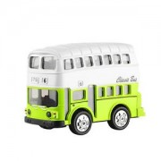 ELECTROPRIME Cute Die Cast Pull Back Double-Decker Model Bus with Lights and Sound-Green