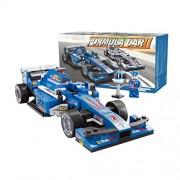 Bxt Kids Diy Educational Assemble Toys Bricks Gift 1:24 Scale F1 Formula Racing Car Model 257pcs 3 D Construction Building Block Sets Compatible With Minifigures(Blue)