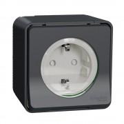 Mureva Styl IP55 vízmentes földelt csatlakozóaljzat (dugalj) gyermekvédelemmel, csapófedéllel, 2P+F, antracitszürke színben, komplett szerelvény, falon kívül, vízmentes (IP55) 16A 250V (Schneider Electric MUR36034)