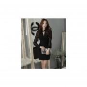 vestido de mangas largas estilo transparente y elegante de color negro