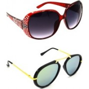 Hrinkar Round Sunglasses(Grey, Silver)