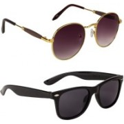 Marabous Wayfarer, Round Sunglasses(Black, Violet)