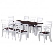 vidaXL Barna / fehér meghosszabbítható tömör fa étkező garnitúra 8 db székkel